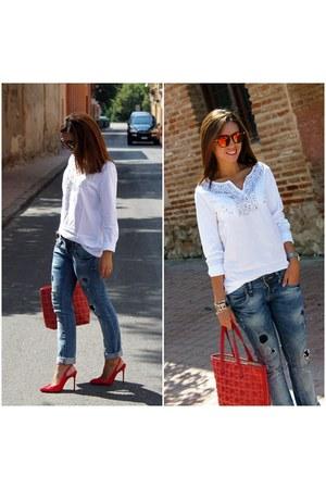 amichi blouse - Zara jeans - Carolina Herrera bag - Zara heels