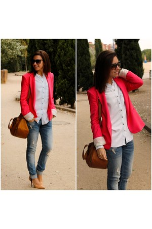 Zara jeans - Zara blazer - Zara shirt - Uterque bag - ray-ban sunglasses