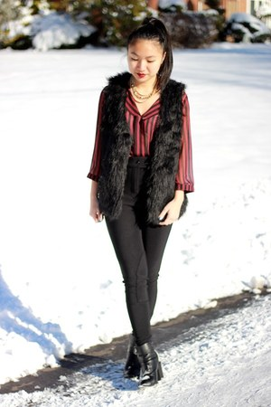 American Apparel pants - faux fur cotton on vest - Forever 21 blouse