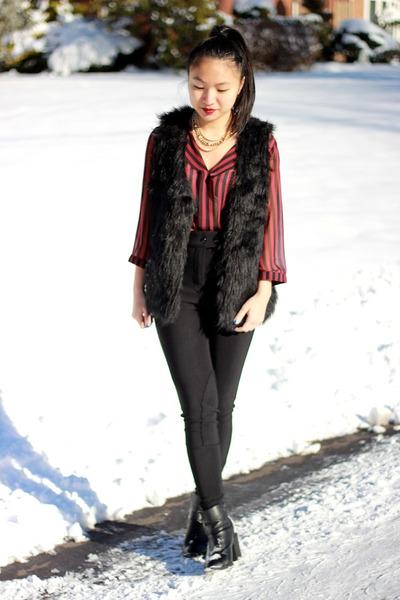 American Apparel pants - faux fur cotton on vest - Forever 21 blouse