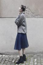 navy wool vintage skirt - silver pull vintage top