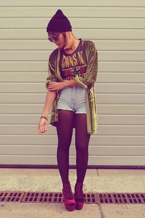 velvet Boohoo boots - denim vintage shorts - guns roses H&M t-shirt