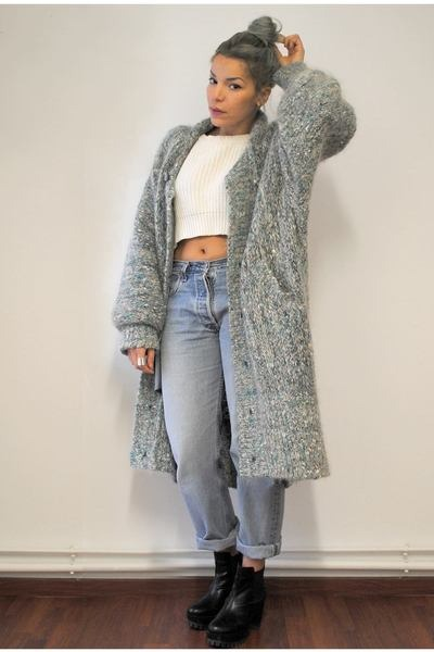 sky blue wool vintage cardigan - black chunky sammydress boots
