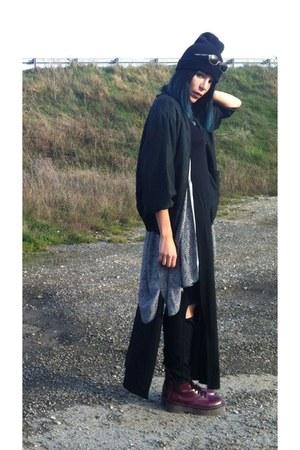 brick red model jadon boots - black black vintage jacket - kimonos H&M blouse