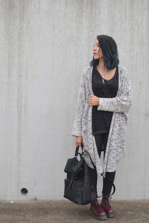 silver wool Primark cardigan - ruby red leather doc martens boots