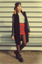 tartan MORGAN skirt - cut out sammydress boots - leather  wool Zara coat