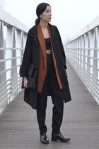 burnt orange cut out vintage jacket - black chelsea Zara boots