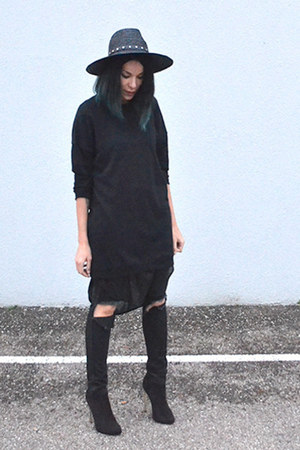 long Zara shirt - heels BANKfashion boots - destroyed asos pants