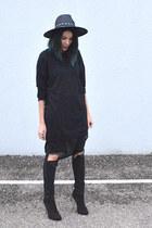 long Zara shirt - heels BANKfashion boots - destroyed asos pants
