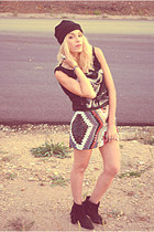 navajo print Zara skirt - fringe GoJane boots - david bowie Zara t-shirt