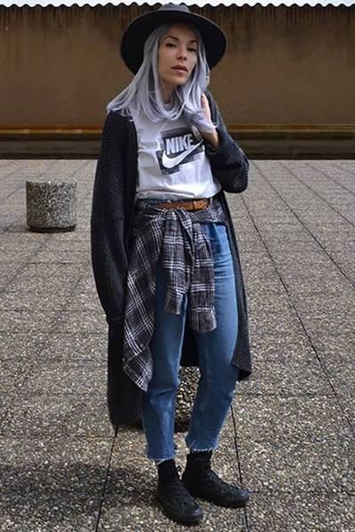 53bc154e93e95 fedora vintage t-shirt - fedora asos hat - men cardigan asos cardigan