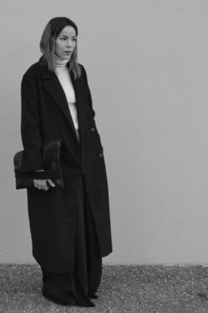 black oversized asos coat - black lenght zalando pants