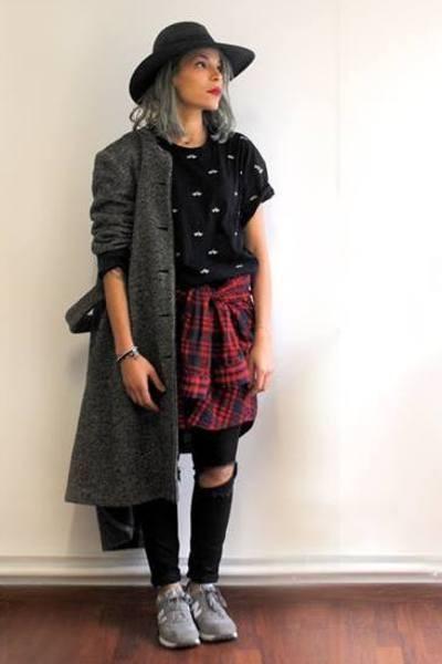 charcoal gray wool vintage coat - black cotton slim Zara jeans