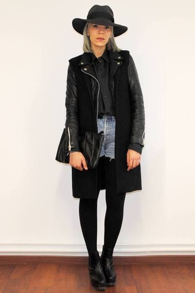 black chunky sammydress boots - black perfecto Zara jacket