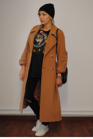 bronze oversize coat vintage coat - white leather le coq sportif shoes