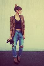 denim destroy H&M jeans - leapard print MIKKAT MARKET blazer - black asos top