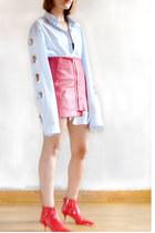 light blue H&M shirt - red vynil Zara shoes