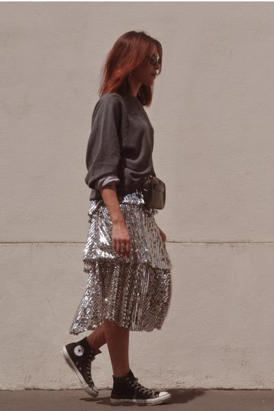 silver glitter Zara skirt - gray grey Levis hoodie - black Converse sneakers