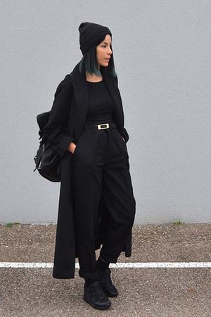 black long asos coat - black coton StyleMoi t-shirt