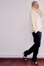 Ivory-wool-vintage-sweater-black-classsic-mango-pants