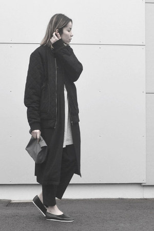 black teddy Sixpack jacket - black maxi lengh Monki jacket