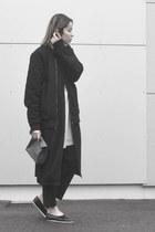 black teddy Sixpack jacket - black maxi lengh Monki jacket