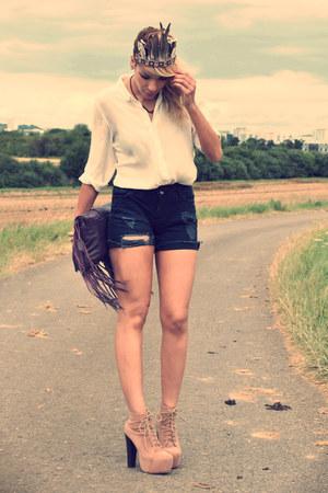 beige Jeffrey Campbell boots - silk SANDRO shirt - Zara bag