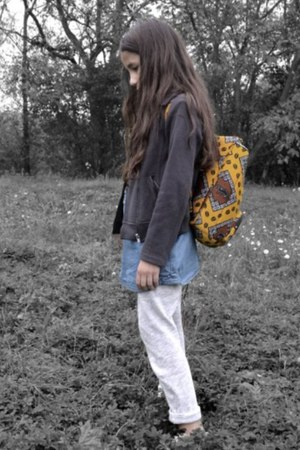 yellow africa print DIY bag - gray cotton perfecto Zara jacket