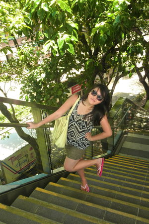 green H&M skirt - H&M blouse - yellow bag - pink Roxy - brown H&M sunglasses