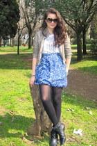 light brown Zara jacket - white BCBG t-shirt - blue Gap skirt