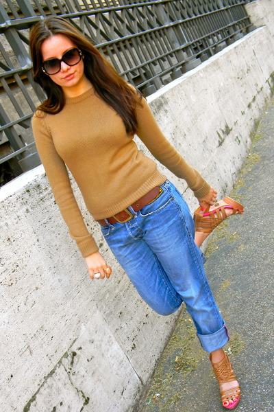 camel Zara sweater - tawny LF stores heels - dark brown Ralph Lauren belt