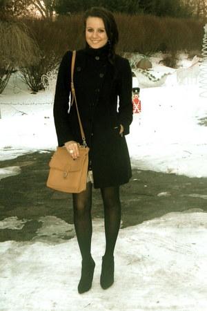 black Pennyblack coat - bronze coach bag