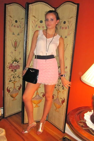 beige BCBG blouse - pink free people skirt - black vintage purse - black Vatican