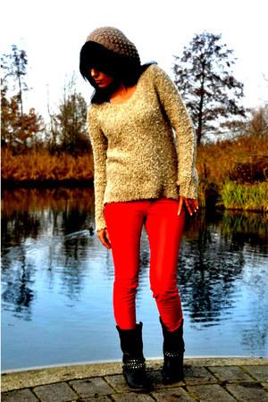 jumper - biker boots - beret H&M hat - red leather pants