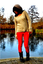 jumper - biker boots - beret H&M hat - red leather pants