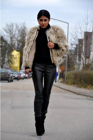 Zara coat - Top Shop boots - carrera sunglasses - leather Vero Moda pants