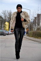 Zara coat - Top Shop boots - carrera sunglasses - leather Vero Moda pants