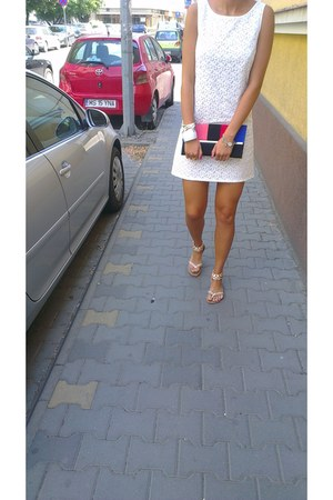 white Zara dress - white kenvelo bracelet - white sandals
