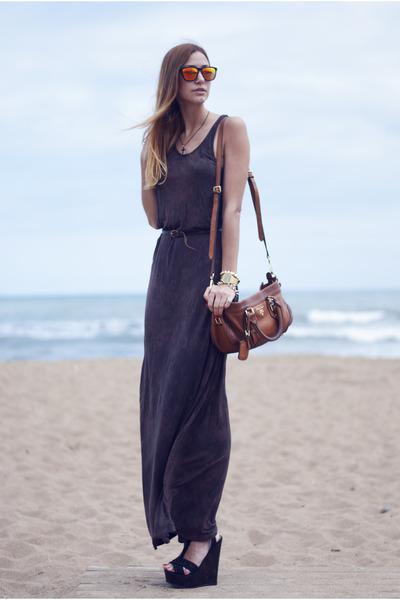 black Forever21 necklace - dark brown Oysho dress - dark brown Prada bag