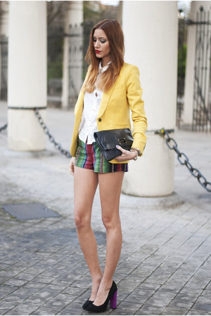 yellow Zara blazer - white H&M shirt - black Marc by Marc Jacobs bag