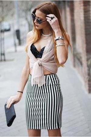 black H&M bag - beige H&M shirt - black The Crystal Bra bra - white H&M skirt