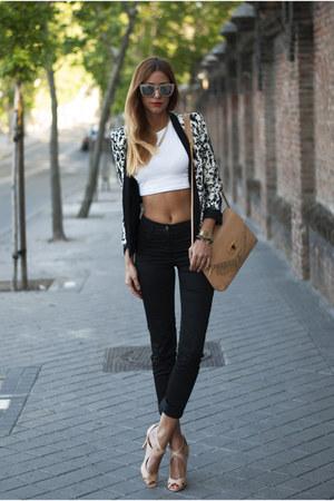 black Mango blazer - nude Zara bag - white H&M top - black H&M pants