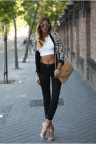 black Mango blazer - nude Zara bag - white H&M top - black H&M pants