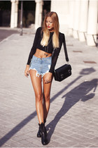 black Zara boots - black Zara bag - blue Sheinside shorts - black Zara jumper