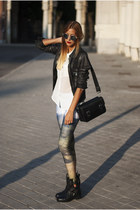 black Zara boots - black Zara jacket - light blue mr guru and miss go leggings