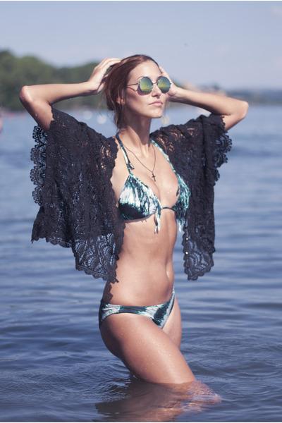 black chicnova top - green Chicwish sunglasses - teal H&M swimwear