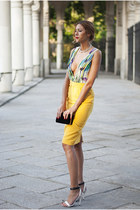white Forever 21 necklace - yellow designed by myself dress - black Zara bag