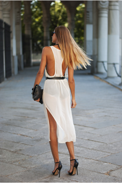 black Marc by Marc Jacobs bag - white Zara dress - black H&M belt