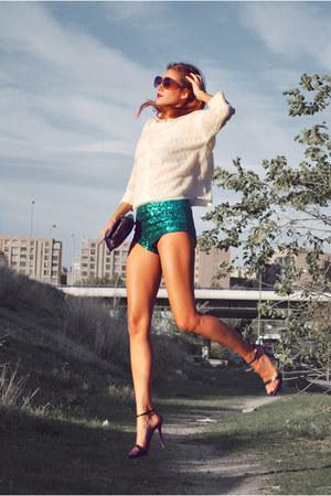 green H&M shorts - white H&M shirt - black Marc by Marc Jacobs bag