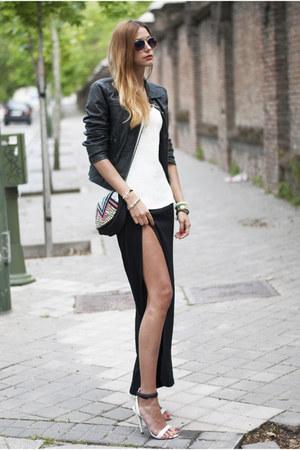 black Zara jacket - aquamarine suiteblanco bag - black 2dayslook skirt